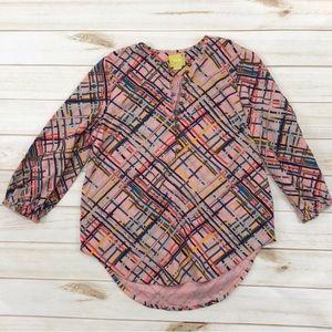 Anthropologie Maeve Bethesda pink flannel top